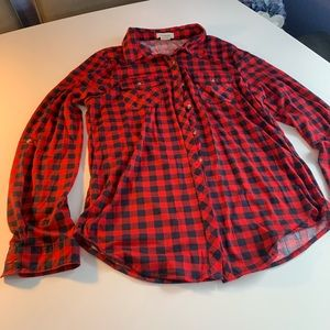 Red and blue flannel button up